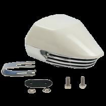 allpa Messing verchroomde elektromagn. scheepshoorn met witte Kunststof Kap, 1-tonig, L=155mm, 12V