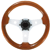 "allpa 3-Spaaks stuurwiel ""Imola"" zilver aluminium met mahoniehouten rand, A=310mm, B=80mm"