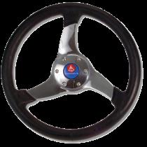 "allpa 3-Spaaks stuurwiel ""Elica"" RVS met zwarte polyurethaan rand, A=350mm, B=95mm"
