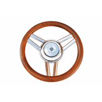 """allpa 3-Spaaks stuurwiel """"Model 26L"""" RVS met houten rand, A=350mm, B=60mm"""