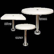 Kunststof tafels met aluminium poot & voet