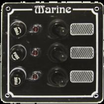 allpa Weerbestendig schakelpaneel 12V met 5A glaszekeringen en controlelampjes