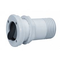 allpa Kunststof huiddoorvoer met anti-terugslagklep, Ø55mm draad, tule aansl. 50mm, flensmaat 50mm