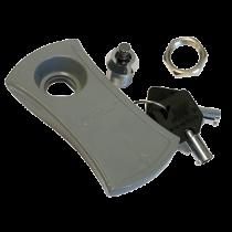 Slot met Sleutel , reserve sleutel voor kunststof luik grijs