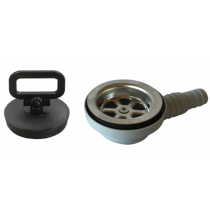 allpa Kunststof haakse afvoer, 90° voor spoelbak, met RVS zeef & rubber met Stop; aansl. 20 & 25mm