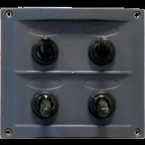 allpa Kunststof schakelpaneel, 12V, 4-schakelaars, 15A zekeringen, incl. labelset, zwart