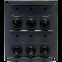 allpa Kunststof schakelpaneel, 12V, 6-schakelaars, 15A zekeringen, incl. labelset, zwart