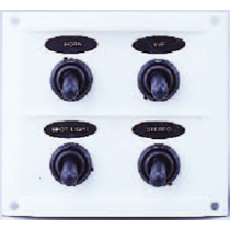 allpa Kunststof schakelpaneel, 12V, 4-schakelaars, 15A zekeringen, incl. labelset, wit