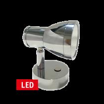 LED Wand-Leeslamp, 10-30V; RVS;  met schakelaar