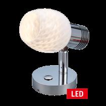 LED Wand-Leeslamp, 10-30V; Alum.; dimbaar met schakelaar