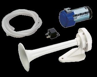 Witte ABS-hoorn met compressor